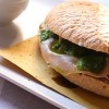 TYPICAL TUSCANY SANDWICH WITH MORTADELLA BOLOGNA PGI AND GREEN SOUCE